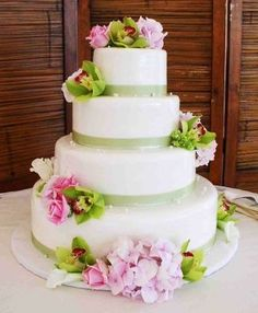 Pink and green simple wedding cake
