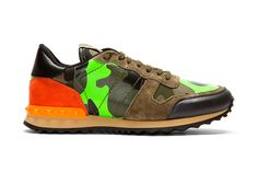 Image of Valentino Green Camo Leather and Suede Studded Sneakers