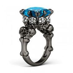 Princess Cut Aquamarine Rhodium Plated Sterling Silver Four-Skull Design Skull Ring - #jeulia - #Coupons - #sale