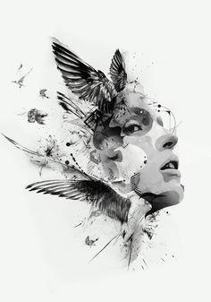 portrait illustration: computer, collage, digital  - all my favourite things in an illustration! Yi Nian San Qian by JKWAN DESIGN, via Behance