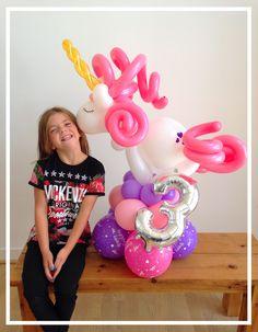 Unicorn birthday balloon created by balloonblooms.co.uk
