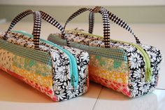 If you're gonna make one you might as well make two!  Mini Bags from the book Patchwork Style by Suzuko Koseki.