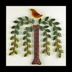 Quilled Weeping Willow Tree Folk Art Pattern by Charlotte of The Art of Quilling