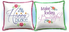 Motivational Quotes - Machine Embroidered Quilt blocks make wonderful cushions. Found these designs on emblibrary
