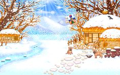 paisaje navideño gifs animado