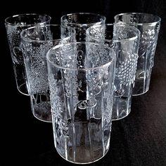 1500d2fa8221 OIVA TOIKKA Flora TUMBLER Set by Iittala   Nuutajaivi Finland -  Scandinavian Mid Century Modern Bohemian Glass Circa 1966 Amazing 6pc Set
