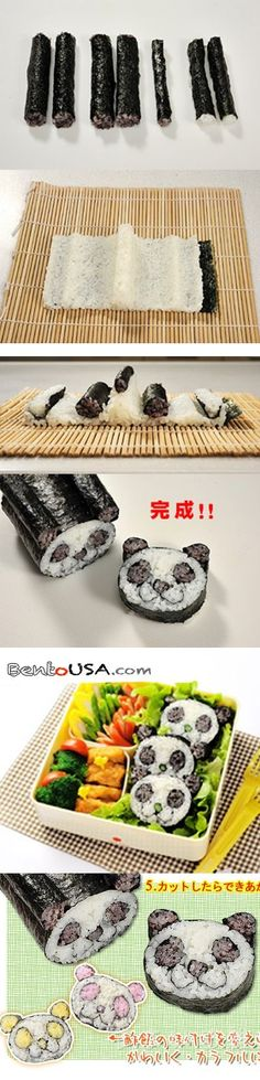"""This is Panda shaped Sushi Nori Maki Rice Mold kit that will help you create Nori Maki or Sushi roll in Panda shape, so adorable and yes you can make it.  This kit includes 4 rice mold that will help guide where to put different shape of maki.  This kit also comes with how-to guide in Japanese with Pictures."" http://www.allthingsforsale.com/egg-mold-rice-mold/2092-japanese-sushi-nori-maki-rice-mold-roll-kit-panda-head-4989082759517.html"