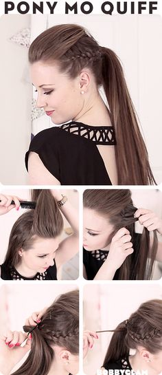 Mowhawk-quiff-ponytail. some really nice hair tutorials on this site