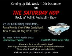 Tune in to Hayes FM from 12pm on 91.8 FM or on http://www.hayesfm.org.uk for more rockin' tracks.  We also talk briefly to Derek Sheldermine about his book 'Rock 'n' Roll Unravelled'  Also available from 3pm on Jive Time Radio http://jivetimeradio.co.uk  Or check out our Show Schedule at: http://thesaturdayhop.co.uk for other available stations and times