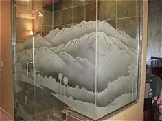 Etched glass shower wnclosure