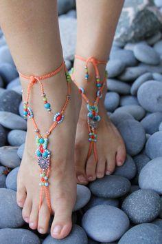Bohemian Style Jewelry | Barefoot Sandal Micro-Macrame Foot Jewelry Bohemian Style