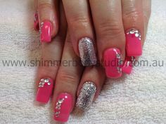 Gel nails, pink nails, glitter nails, crystals, diamantes.