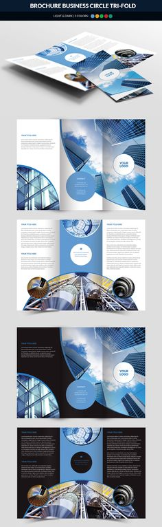 Business Circle Tri Fold Brochure Template PSD - Unlimited Downloads