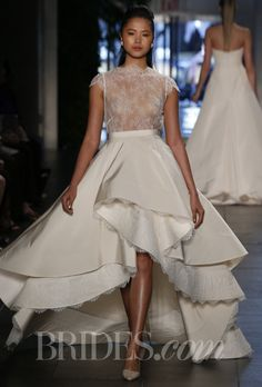 """Brides: Rivini - Spring 2014. """"Martinique"""" ivory sheer Chantilly lace short sheath wedding dress with multi-tiered coral mist faille overskirt trimmed in Chantilly lace, Rivini"""