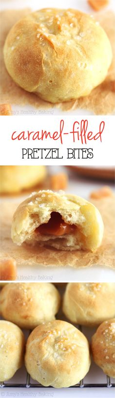 Caramel-Filled Pretzel Bites -- a quick, no-fuss recipe for soft homemade pretzels! It's almost impossible to share any. That gooey caramel surprise center is SO addictive!