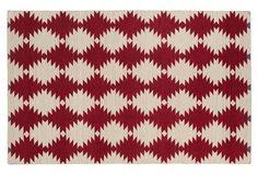 Elsa Flat-Weave Rug, Red/Beige