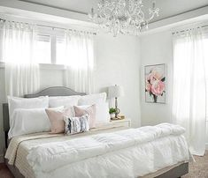 """7,459 Likes, 76 Comments - #LTKhome (@liketoknow.it.home) on Instagram: """"Chandelier lighting and feminine frills, sweeten up your bedroom details a la @decorandmoredesigns…"""""""