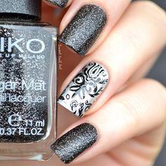 Amazing nails. Black nails. Nail art. Nail design. Polishes.  Polish. Polished. KIKO.