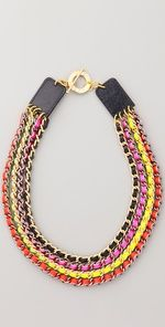 Neon Multi Chain Necklace-Buy chains and colourful ribbon form a craft shop, and voila!