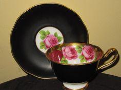 Royal Albert Crown China Old English Rose Matte Black Gold Avon Teacup Saucer Set Front View