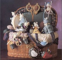 Mice would be cute in an antique sewing box. Show off your treasures, everyone's sure to look.