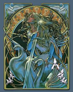 The Art of Fae Nouveau (Part – Avalon to Camelot King Arthur Legend, Legend Of King, High Fantasy, Fantasy Art, Fantasy Fairies, Alphonse Mucha Art, Roi Arthur, Lake Art, Unicorn Art