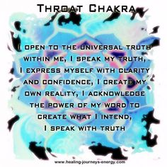 Throat Chakra - Our ability to communicate.  Location: Throat.  Emotional issues: Communication, self-expression of feelings, the truth.
