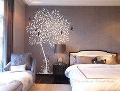 Tree decal nursery wall decal baby wall decal children wall decal flying birds decal room decal-Tree with waving leaves on Etsy, $63.00