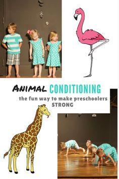 warm-up and conditioning for preschool gymnastics, creative movement, dance, animal games and coloring pages