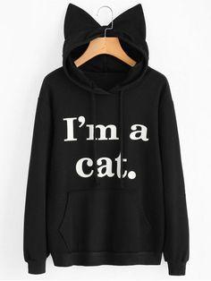 Womens Girls Cat Ear Pullover Hoodie Hockey Mom Heart Cropped Sweatshirts