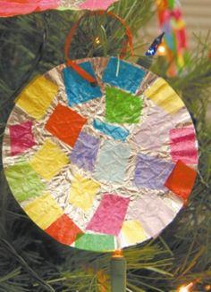 Mexican tin Feliz Navidad ornament craft, and other great ideas for a Las Posadas celebration.