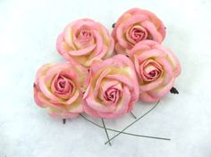 5 50mm/2 inches pink mulberry roses by eastmeetswest on Etsy (Craft Supplies & Tools, Floral Supplies, Artificial Flowers & Plants, paper flower, mulberry paper, paper rose, mulberry flowers, mulberry flower, headband flower, large roses, 50mm roses, 2 inches roses, pink roses, yellow roses)