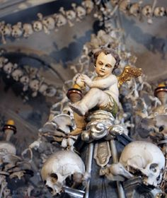 Sedlec Ossuary, Kutna Hora, Czech Republic (about 90 minutes outside Prague) The basement-level chapel contains 40,000 skeletons fashioned into skull candelbras, a towering coat of arms, and one seriously morbid chandelier.