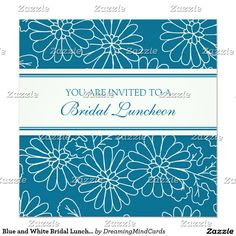 Blue and White Bridal Luncheon Invitation Cards