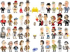 Andy Rash's Ioticons: Very low resolution portraits. This is his indiana jones set, but his supreme court and congress sets are equally amusing.