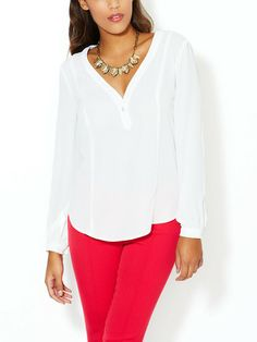 ALEX + ALEX - V-Neck Henley Blouse