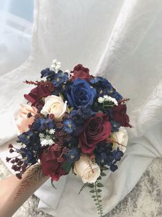 burgundy wedding Too good not to share: Burgundy Navy Blue Bouquet Wedding Flora Navy And Burgundy Wedding, Navy Blue And Gold Wedding, Burgundy Wedding Flowers, Navy Blue Flowers, Maroon Wedding, Fall Wedding Bouquets, Wedding Flower Arrangements, Blue Orchids, Bridal Bouquets
