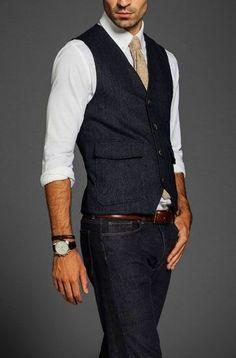Dark denim, dark wool waistcoat. A must have.