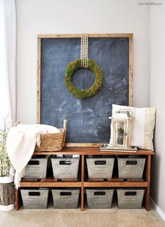 Fantastic space-saving ideas for keeping your mudroom organized, efficient and, most of all, beautifully decorated. Farmhouse Bench, Rustic Farmhouse Decor, Farmhouse Furniture, Farmhouse Chic, Rustic Decor, French Farmhouse, Farmhouse Office, Farmhouse Design, Rustic Furniture