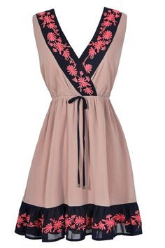 #Lily Boutique - #Lily Boutique Embroidered Eminence Coral and Navy Dress - AdoreWe.com