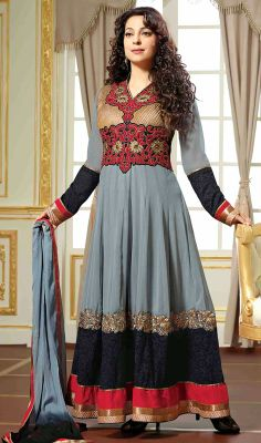 Juhi Chawla Georgette Long Length Anarkali Suit Deepen your unfathomable beauty as Juhi Chawla with this ash gray and black georgette long length Anarkali suit. The floral patch, gold zardosi, moti and resham work seems chic and fantastic for any event. #JuhiChawlaGeorgetteSuits #EveningWearChuridarSuits