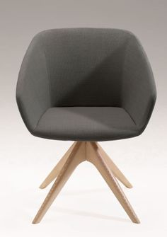 Grab yourself a seat at the table. Simple modern design, this chair will add a touch of sophistication to any space. The Brek armchair with swivel star ash wood legs. Home Comforts, Grey Fabric, Office Chairs, Ash, Modern Design, Armchair, Upholstery, Touch