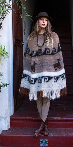 Tavin Boutique - Peruvian Light Brown Vintage Perfect Poncho