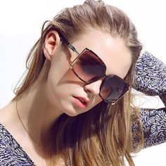 Designer Inspired Square Metal and Frame Polarized Sunglasses, Women's