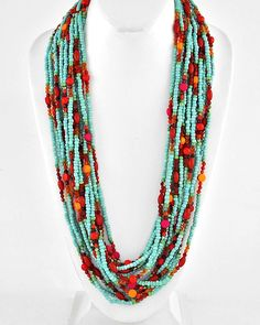 Stunningly gorgeous with a touch of sophisticated Boho, always in style, Turquoise Beads weaved with Apricot, Coral, Rouge and Poppy