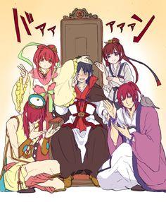 Magi - Kouha with Kougyoku Clothes, Kougyoku with Hakuryuu's, Koumei with Kouha's, Kouen with Koumei's, and Hakuryuu with Kouen's