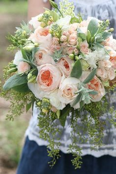 lillie's bouquets pale+peach+garden+rose+bouquet+featuring+lamb's+ear (1067×1600)