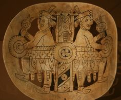 """Shell gorget from Spiro, Oklahoma mound. Orion, the Milky Way, and Cygnus are symbolized along with the """"elite,"""" priests who controlled the death journey"""