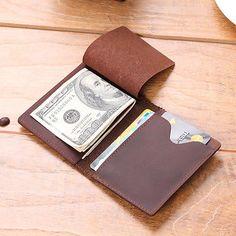 8a06d8305441 Men s Slim Bifold Craze Horse Leather Wallet Money Clip Credit Card Holder