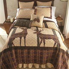 Donna Sharp Antler Woods Quilt Set Cotton Bedding, Quilt Bedding, Cotton Quilts, Bedding Sets, Single Quilt, Rustic Bedding, Chic Bedding, Luxury Bedding, Quilted Bedspreads